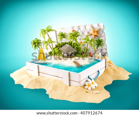 Fantastic tropical island with bungalow in opened wooden box on a pile of sand. 3D illustration - stock photo