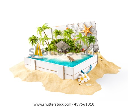 Fantastic tropical island with bungalow in opened wooden box on a pile of sand. Unusual 3d illustration Isolated on white. Tropical island concept illustration