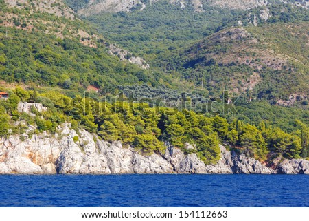 Fantastic view azure sea over Budva riviera. Balkans, Adriatic sea, Europe. Beauty world.