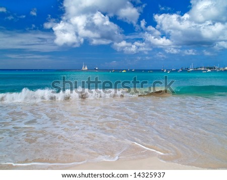 Fantastic view from the beach of Caribbean sea