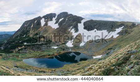 Fantastic view from the top of the mountain. Scenic Carpathians - stock photo