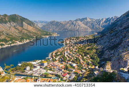 Fantastic view harbour and boats in sunny day at Kotor bay (Boka Kotorska). Picturesque and gorgeous scene. Location famous resort Montenegro, Balkans, Europe. Beauty world. Artistic picture. - stock photo