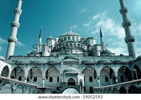 Fantastic view of Blue Mosque (Sultan Ahmet) in Istanbul, Turkey - stock photo