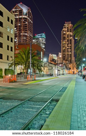 Fantastic view of modern city at night in San Diego, CA, USA - stock photo