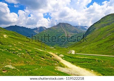 Fantastic view of Swiss Alps from Oberalp Pass (el. 2044 m), Switzerland - stock photo
