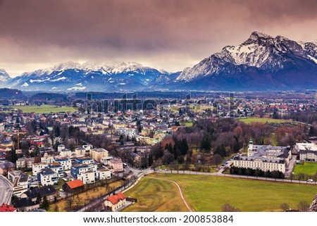 Fantastic view of the historic city of Salzburg. Austria, Europe. Beauty world. - stock photo
