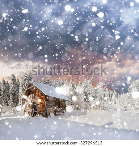 fantastic winter landscape. background with some soft highlights and snow flakes