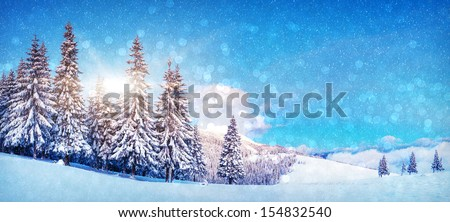 Fantastic winter landscape. Blue sky. Panoramic landscape. Carpathian, Ukraine, Europe. Beauty world.  - stock photo