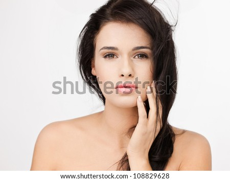 Fantastic  woman on white background - stock photo