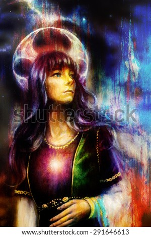 Fantastic woman with ornaments on space, color painting and structure background