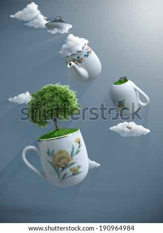 fantastic world suspended with teapot and teacups   - stock photo