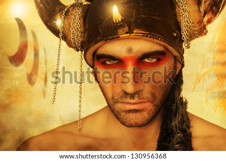 Fantastical portrait of a ancient warrior with vintage antique background - stock photo