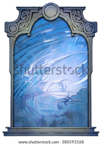 Fantastistic background with a spaceship exploring some frozen lands framed with a stone decorated hand drawn arch - stock photo