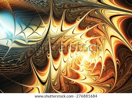 Fantasy abstract bright pattern with brilliant effect. Sparkle golden fine background for creative design. Shiny decoration for interior, wallpaper, poster, cover booklet, flyer. Fractal artwork - stock photo
