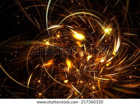 Fantasy abstract flower with brilliant effect. Sparkle golden beautiful background for creative design. Artistic shiny decoration for wallpaper desktop, poster, cover booklet, flyer. Fractal artwork - stock photo