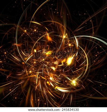 Fantasy abstract night flower with brilliant effect. Sparkle golden background for creative design. Artistic shiny decoration for wallpaper desktop, poster, cover booklet, flyer. Fractal artwork - stock photo