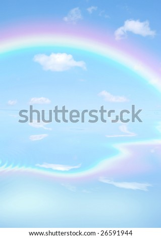 Fantasy abstract of double rainbows against a blue sky with reflection over rippled water. - stock photo