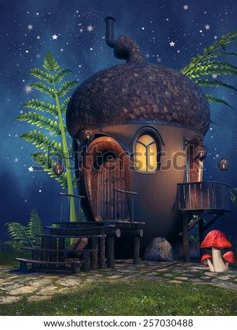 Fantasy acorn cottage with mushrooms and fern at night - stock photo