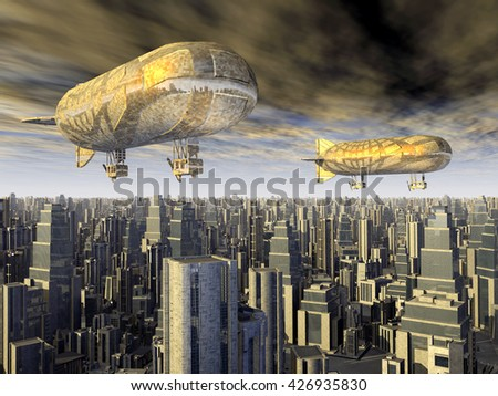 Fantasy airships over a megacity Computer generated 3D illustration