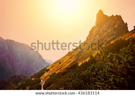 Fantasy and colorfull mountains nature landscape. Nature conceptual image. - stock photo