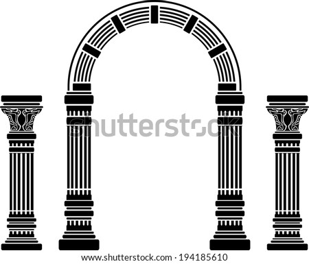 fantasy arch and columns. stencil. fourth variant - stock photo