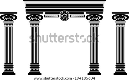 fantasy arch and columns. stencil. sixth variant - stock photo