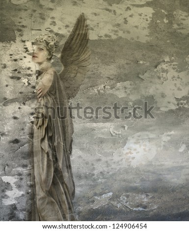 Fantasy artistic background representing a woman angel - stock photo