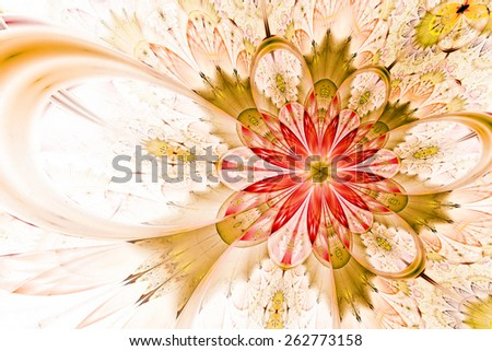 fantasy artistic flower with lighting effect. Beautiful shiny futuristic background for wallpaper, interior, album, flyer cover, poster, booklet. Fractal artwork for creative design. - stock photo