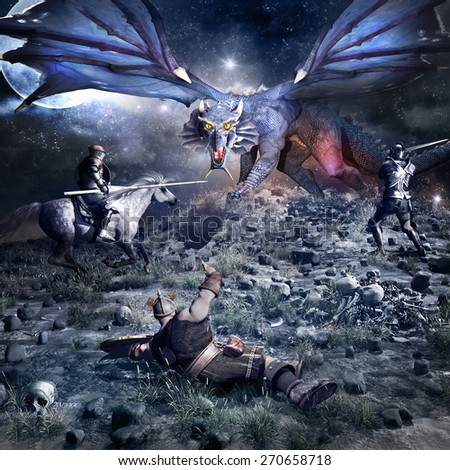 Fantasy battle scenery with blue dragon, knight, dwarf and horse rider - stock photo