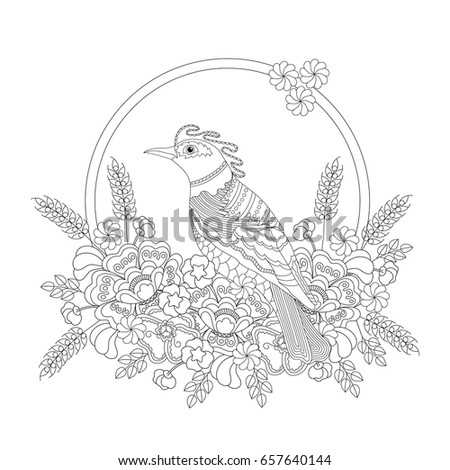 fantasy bird in flowers coloring book for adults and children black and white illustration - Fantasy Coloring Books For Adults