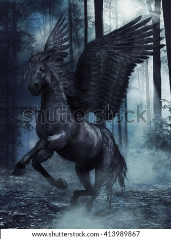 Fantasy black winged horse in a foggy forest at night. 3D illustration.