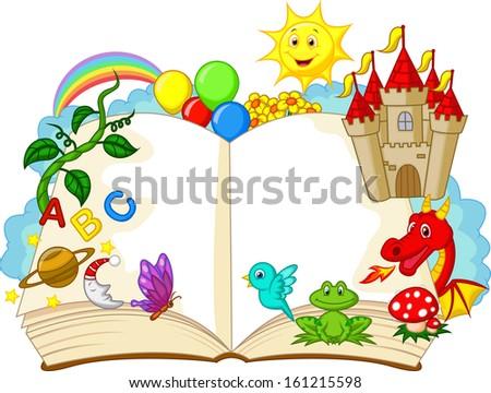 Fantasy book cartoon - stock photo