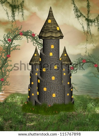 fantasy castle near the sea with flowers - stock photo