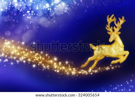 Fantasy Christmas composition with flying golden reindeer on a background of a magical night sky - stock photo