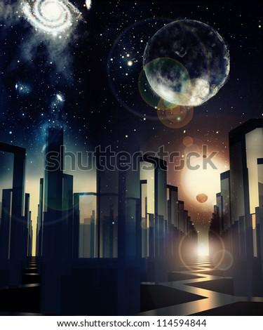 fantasy city - stock photo