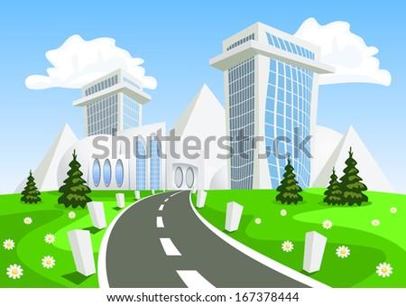 Fantasy city. - stock photo