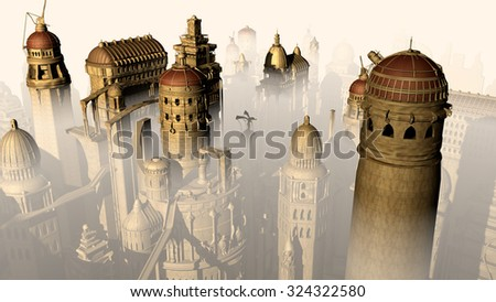 Fantasy 3D city form past to future - stock photo