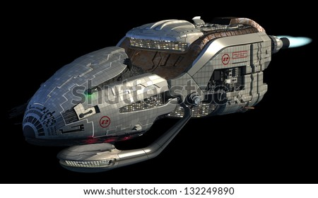 Fantasy 3D model of futuristic space ship in interstellar deep space travel for sci-fi backgrounds, with clipping path in the jpg file - stock photo