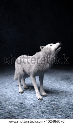 Fantasy 3d render of white wolf howling while standing on guard.