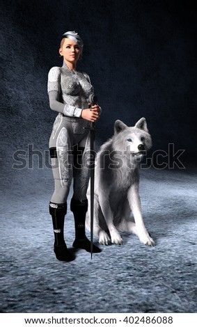 Fantasy 3d render of woman holding a sword with white wolf at her side standing guard. - stock photo