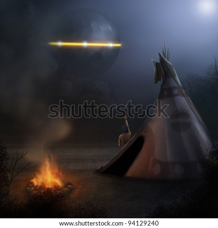 fantasy digital illustration of a native American observing a UFO in the night sky - stock photo