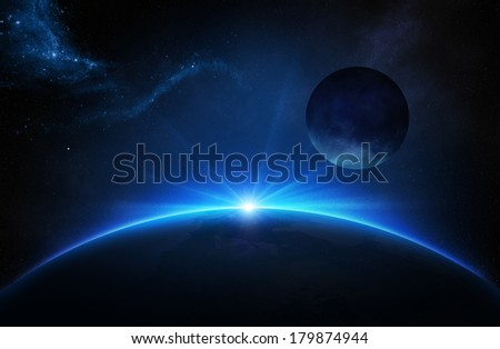 Fantasy Earth and Moon in deep space with sunrise (Elements of this 3d image furnished by NASA -  source maps from http://visibleearth.nasa.gov/) - stock photo