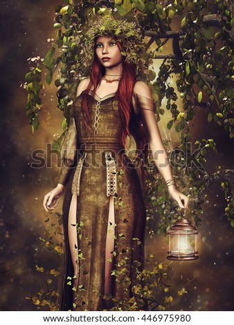 Fantasy elf girl with a lantern in the forest. 3D illustration. - stock photo