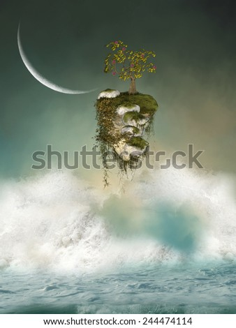 Fantasy floating island in the ocean - stock photo