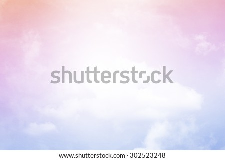 fantasy fluffy cloud and sky abstract background with gradient color - stock photo