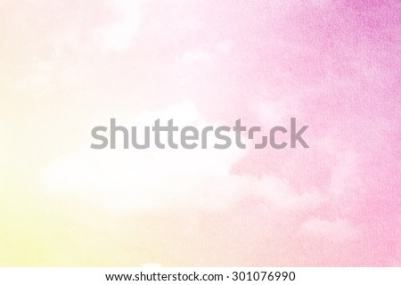 fantasy fluffy cloud and sky abstract background with grunge paper  texture - stock photo