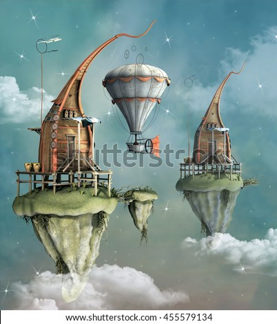 Fantasy flying town with hot air balloon - 3D illustration