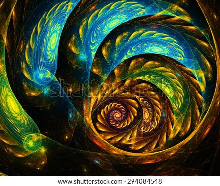 fantasy fractal spiral - stock photo