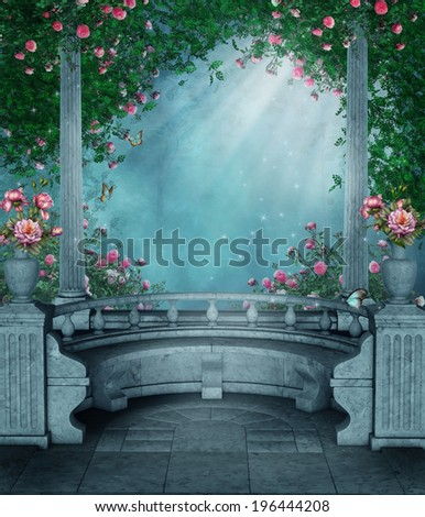 Fantasy gazebo with rose vines and marble benches - stock photo