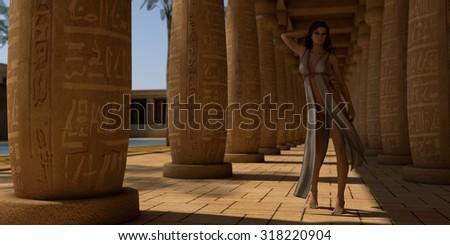 fantasy girl in egypt patio - stock photo